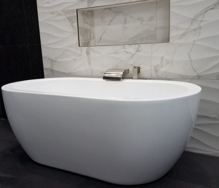 bath remodel with freestanding tub